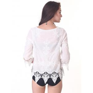 Chic 3/4 Sleeve Lace-Up Asymmetric Cover-Up -
