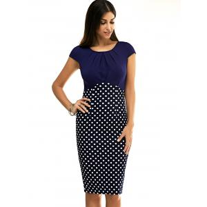 Chic Short Sleeve Polka Dot Spliced Skinny Women's Dress -