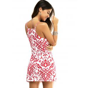 Fashion Spaghetti Strap Paisley Floral Print Mini Dress -