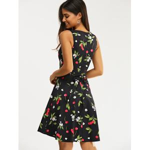 Vintage Sleeveless High Waist Cherry Print Women's Dress -