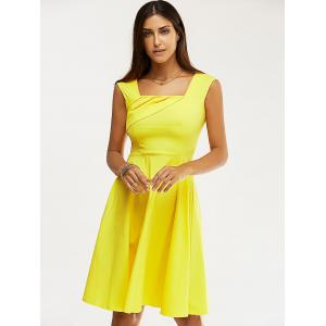 Retro Women's Pure Color Ruched Flare Dress - YELLOW 2XL