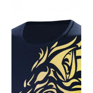 Tattoo Style Golden Tiger Print Round Neck Long Sleeve T-Shirt For Men -