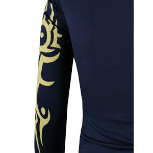 Tattoo Style Golden Tiger Print Round Neck Long Sleeve T-Shirt For Men - CADETBLUE 3XL