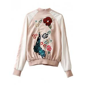 Peacock and Floral Embroidered Souvenir Jacket -