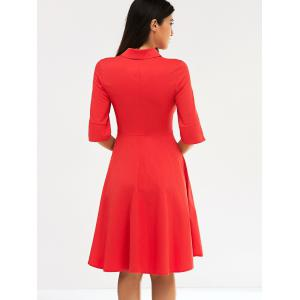 Retro Women's Pure Color Buttoned Flare Dress - RED 2XL