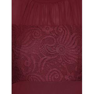 Lace Panel Long Sleeve Chiffon Maxi Formal Prom Dress - WINE RED S