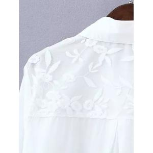 Plus Size Sweet Flower Embroidered Long Shirt - WHITE 4XL