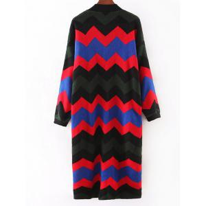 Fashionable Hit Color Zig-Zag Cardigan -