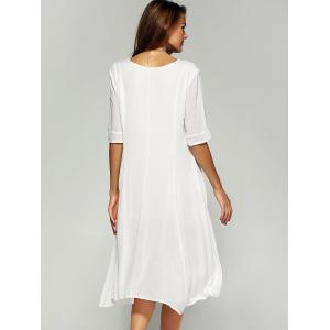 Pure Color Casual Dress with Half Sleeves -