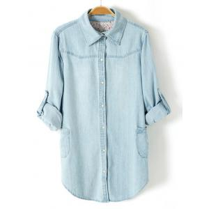 Plus Size Trendy Adjustable Sleeve Longline Chambray Shirt - LIGHT BLUE 3XL