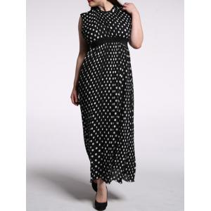 Plus Size Pleated Ruffled Long Polka Dot Dress - BLACK 6XL