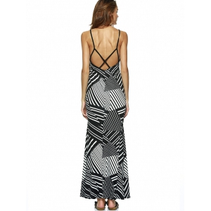 Stripe Plunge Backless Long Night Out Dress -