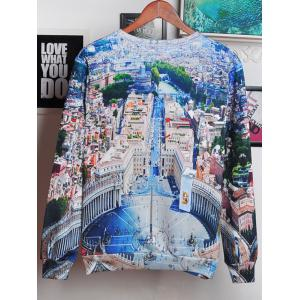 3D City and Letters Print Round Neck Long Sleeve Sweatshirt For Men - COLORMIX 2XL