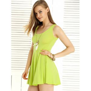 Sweet Pure Color Sleeveless Dress For Women -
