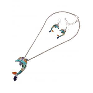 Dolphin Resin Beads Necklace Set - COLORFUL