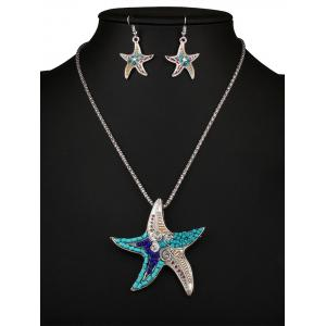 Delicate Turquoise Beads Multicolor Starfish Necklace Set For Women -