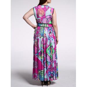 Plus Size Abstract Print High Waist Dress -