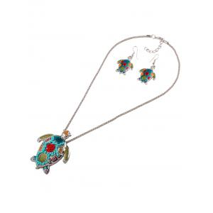 Multicolor Beads Turtle Necklace Set - COLORFUL
