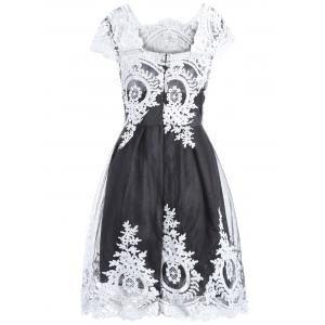 Women's Retro Style Lace Square Neck Short Sleeve Dress -