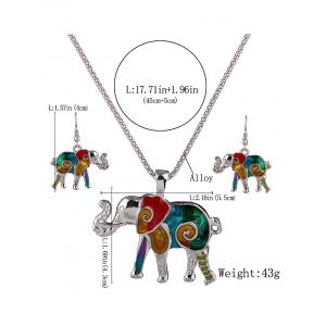 Enamel Multicolor Elephant Necklace and Earrings - COLORFUL