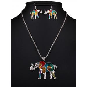 Enamel Multicolor Elephant Necklace and Earrings -