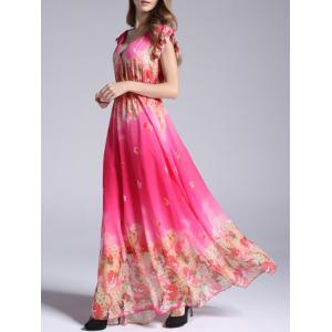 Boho Floral Swing Maxi Chiffon Beachwear Dress - ROSE RED 3XL