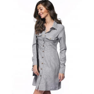 Long Sleeve Button Up Shirt Work Dress -