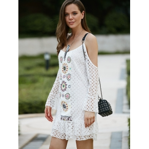 Sweet Spaghetti Strap Cut Out Long Sleeve Lace Dress For Women -