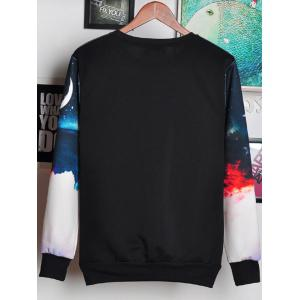 3D Ombre Sky and Letters Print Round Neck Long Sleeve Sweatshirt For Men -