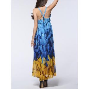 Feather Print Backless Chiffon Maxi Beachwear Dress -