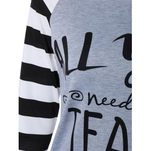 Stylish Stripe Letter Print Long Raglan Sleeve Funny Graphic Tees - GRAY XL
