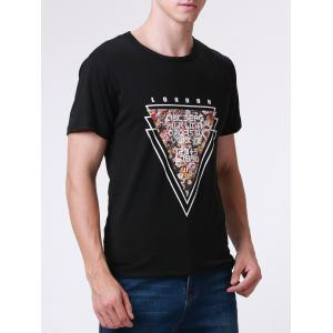 Casual Style Round Neck Short Sleeve Geometric and Letter Printed T-Shirt For Men -