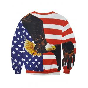 3D Star and Stripe Eagle Print Round Neck Long Sleeve Sweatshirt For Men - COLORMIX 2XL