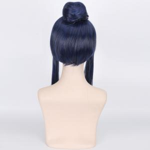Blue Mixed Black Synthetic Love Live Sonoda Umi Awake Seven God Cosplay Wig With Chignons - BLUE/BLACK
