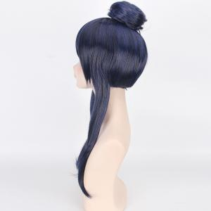 Blue Mixed Black Synthetic Love Live Sonoda Umi Awake Seven God Cosplay Wig With Chignons -