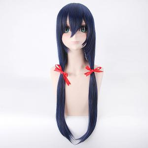 Long Straight Blue Mixed Black Synthetic Love Live Sonoda Umi Uniform Style Cosplay Wig -
