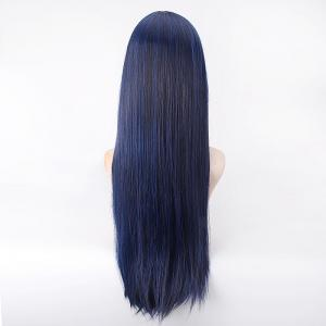 Long Straight Blue Mixed Black Synthetic Love Live Sonoda Umi Uniform Style Cosplay Wig - BLUE/BLACK
