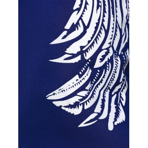 Wing Print Sweatshirt and Jogger Sports Pant - SAPPHIRE BLUE XL