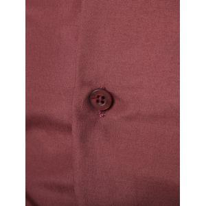 Turn-Down Collar Slim-Fit Long Sleeve Formal Shirt - WINE RED 3XL