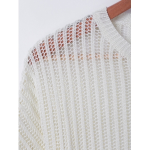 Casual Pure ColorHollowOut Knitwear -