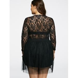 Plunging Neck Lace Splicing See-Through Plus Size Dress -