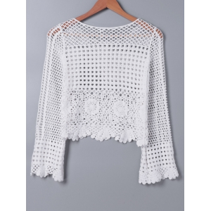 Fashionable Hollow Out Crochet Blouse -