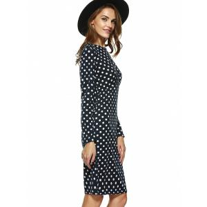 Fashionable Long Sleeve Polka Dot Sheath Dress - PURPLISH BLUE S