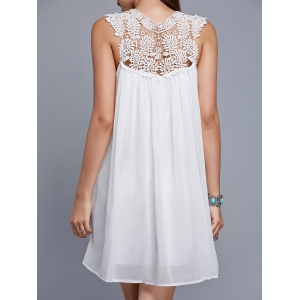 V Neck Sleeveless Cut Out Chiffon Dress - WHITE XL