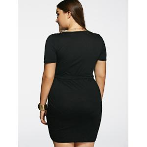 Stylish Plunging Neck Solid Color Short Sleeve Black Plus Size Dress For Women -