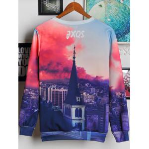 3D Bell Tower and Letters Print Round Neck Long Sleeve Sweatshirt For Men - COLORMIX 2XL