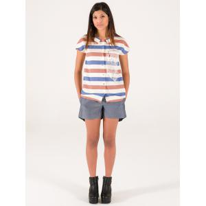 Chic Short Sleeve Colorful Striped Shirt -