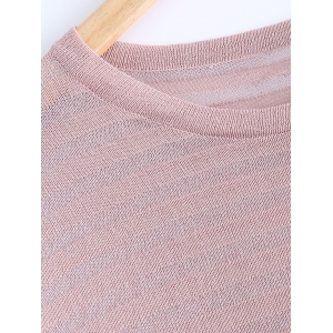 Stylish Ribbed Stripe Thin Pure Color Knitted T-Shirt -