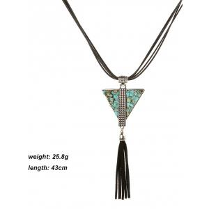 Retro Faux Leather Layered Triangle Turquoise Fringe Necklace -