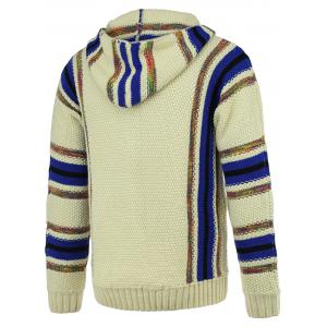 Striped Pattern Half Zip Long Sleeve Hooded Sweater For Men - COLORMIX XL